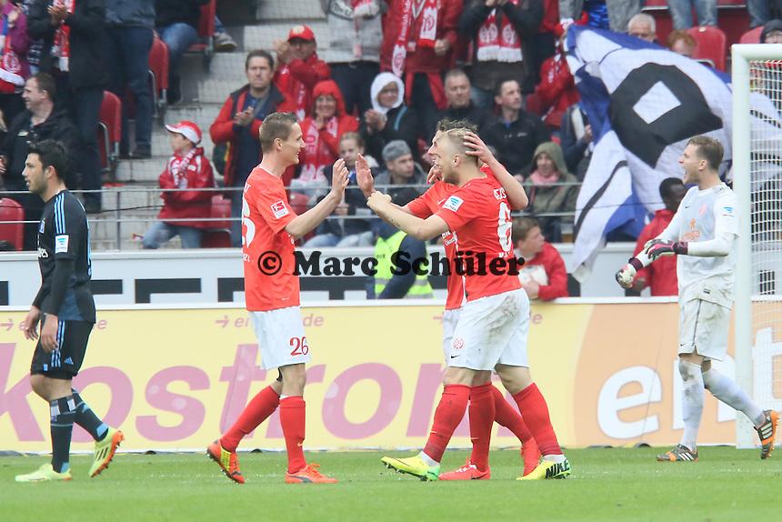 Jubel bei Mainz, FRust beim HSV - 1. FSV Mainz 05 vs. Hamburger SV, Coface Arena, 34. Spieltag