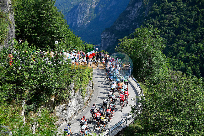 The peloton in action during Stage 20 of the 100th edition of the Giro d'Italia 2017, running 190km from Pordenone to Asiago, Italy. 27th May 2017.<br /> Picture: LaPresse/Fabio Ferrari   Cyclefile<br /> <br /> <br /> All photos usage must carry mandatory copyright credit (&copy; Cyclefile   LaPresse/Fabio Ferrari)