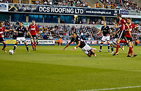 Millwall's James Meredith goes down during the Sky Bet Championship match between Millwall and Ipswich Town at The Den, London, England on 15 August 2017. Photo by Carlton Myrie.