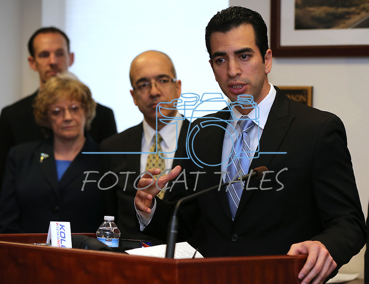 Surrounded by Nevada Senate Democrats, Sen. Ruben Kihuen, D-Las Vegas, speaks at a press conference on Tuesday, Feb. 19, 2013, at the Legislative Building in Carson City, Nev. From left, rear are Senators Justin Jones, Joyce Woodhouse and Mo Denis..Photo by Cathleen Allison