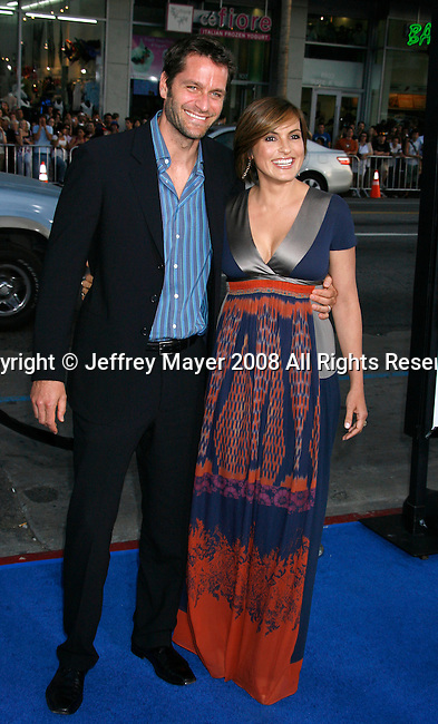"""Peter Herman and Actress Mariska Hargitay arrive at the Los Angeles Premiere of """"The Love Guru"""" on June 11, 2008 at Grauman's Chinese Theatre in Hollywood, California."""