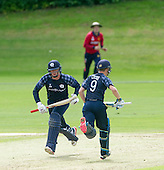 ICC World T20 Qualifier (Warm up match) - Scotland V Jersey at Heriots CC, Edinburgh - Scotland batsmen George Munsey and Matthew Cross making runs — credit @ICC/Donald MacLeod - 06.7.15 - 07702 319 738 -clanmacleod@btinternet.com - www.donald-macleod.com