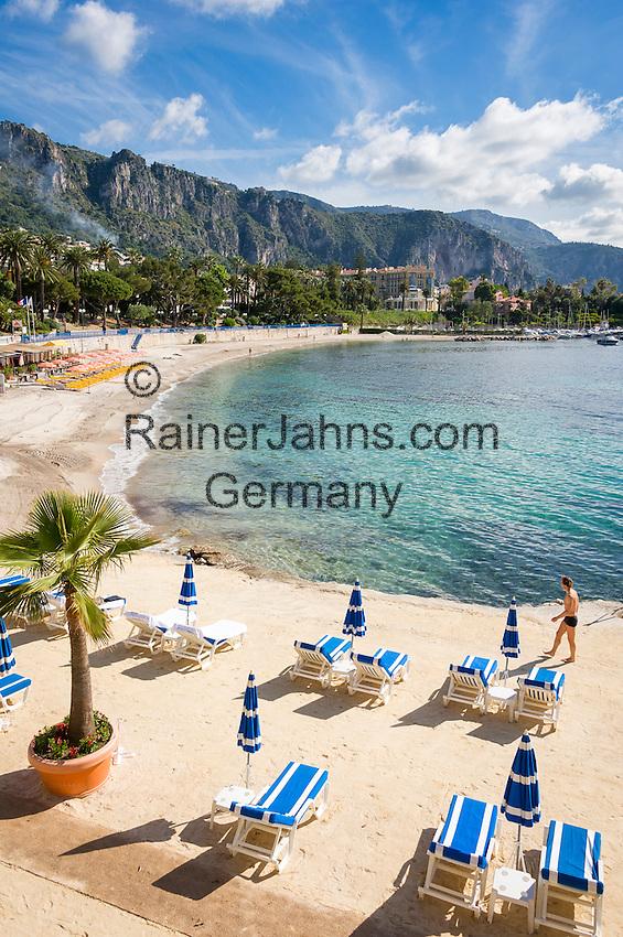 France, Provence-Alpes-Côte d'Azur, Beaulieu-sur-Mer: beach at Baie des Fourmis   Frankreich, Provence-Alpes-Côte d'Azur, Beaulieu-sur-Mer: Strand an der Baie des Fourmis