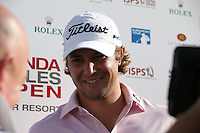 Peter Uihlein (USA) talks to the media following his superb -4 par round to lead on -7 post Round Three at the 2013 ISPS Handa Wales Open from the Celtic Manor Resort, Newport, Wales. Picture:  David Lloyd / www.golffile.ie