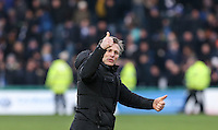Wycombe Wanderers Manager Gareth Ainsworth celebrates his side 1 0 victory during the Sky Bet League 2 match between Wycombe Wanderers and Bristol Rovers at Adams Park, High Wycombe, England on 27 February 2016. Photo by Andy Rowland.