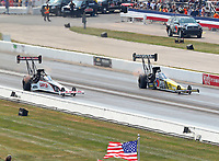 Sep 4, 2017; Clermont, IN, USA; NHRA top fuel driver Steve Torrence (left) alongside Antron Brown during the US Nationals at Lucas Oil Raceway. Mandatory Credit: Mark J. Rebilas-USA TODAY Sports