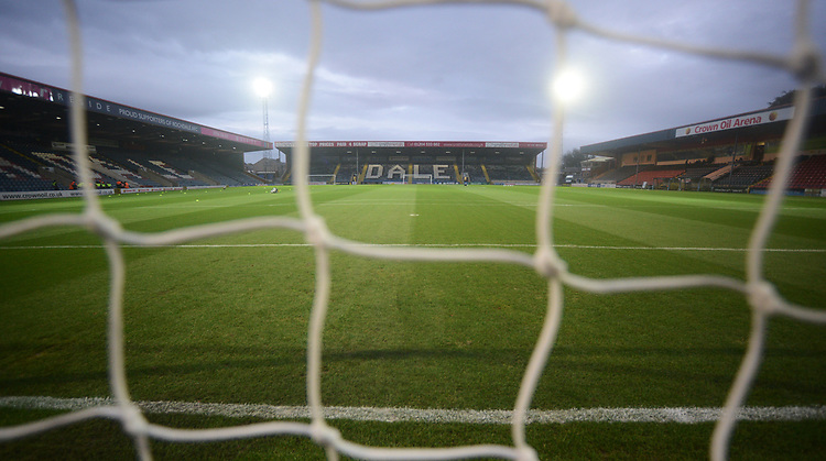 A general view of Spotland Stadium, home of Rochdale<br /> <br /> Photographer Kevin Barnes/CameraSport<br /> <br /> EFL Leasing.com Trophy - Northern Section - Group F - Rochdale v Bolton Wanderers - Tuesday 1st October 2019  - University of Bolton Stadium - Bolton<br />  <br /> World Copyright © 2018 CameraSport. All rights reserved. 43 Linden Ave. Countesthorpe. Leicester. England. LE8 5PG - Tel: +44 (0) 116 277 4147 - admin@camerasport.com - www.camerasport.com