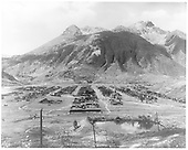 View of Silverton and Sultan Mountain with Animas River at far end of valley.<br /> Silverton, CO  Taken by McClure, Louis Charles