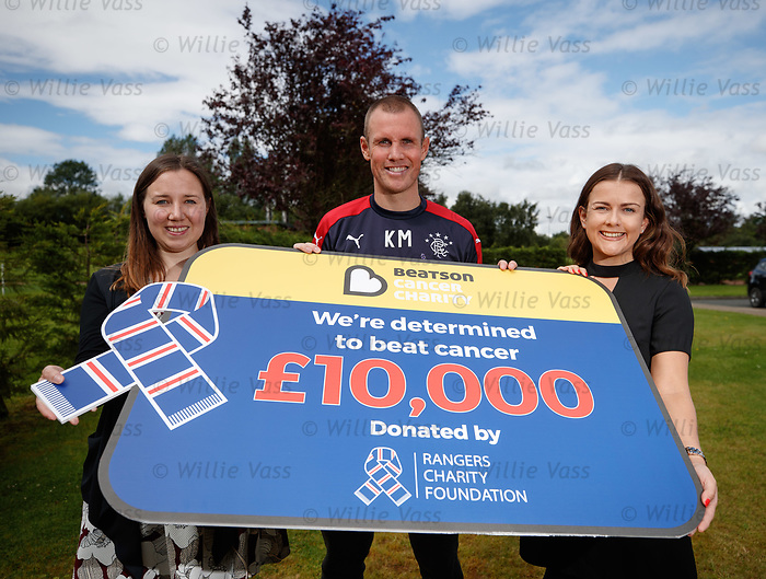 Kenny Miller hands over £10K from the Rangers Charity Foundation to Beatson Cancer Care. Kenny is with Karen Mathie and Dawn Ferguson