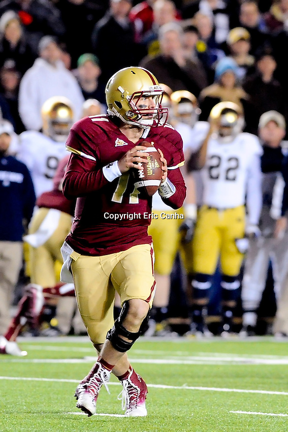 Boston College Eagles quarterback Chase Rettig (11) during the Boston College Eagles vs Notre Dame Fighting Irish NCAA football game held at Alumni Stadium, in Chestnut Hill, Massachusetts.   Eric Canha/CSM