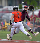Edwardsville batter Josh Ohl (left) is safe at first base ahead of the throw to Belleville West first baseman Logan Weaver. Edwardsville defeated Belleville West in a semifinal of the Class 4A Bloomington boys baseball sectional which was played in O'Fallon, IL on Wednesday May 29, 2019.<br />