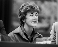 Nuala Fennell, TD, Fine Gael, Rep of Ireland, pictured on platform at Ard Fheis, October, 1982. Nuala Fennel is a junior minister with reponsibility for women&rsquo;s affairs. 198210000334NF2<br /><br />Copyright Image from Victor Patterson, 54 Dorchester Park, <br />Belfast, UK, BT9 6RJ<br /><br />t1: +44 28 9066 1296 (from Rep of Ireland 048 9066 1296)<br />t2: +44 28 9002 2446 (from Rep of Ireland 048 9002 2446)<br />m: +44 7802 353836<br /><br />victorpatterson@me.com<br />www.victorpatterson.com<br /><br />Please see my Terms and Conditions of Use at VICTORPATTERSON.COM. It is IMPORTANT that you familiarise yourself with them.<br /><br />Images used on the Internet must be visibly watermarked i.e. &copy;VICTORPATTERSON.COM within the body of the image and copyright metadata must not be deleted. Images used on the Internet have a size restriction of 4kbs and are chargeable at the then current NUJ rates.<br /><br />This image is only available for the use of the download recipient i.e. television station, newspaper, magazine, book publisher, etc, and must not be passed on to any third party. It is also downloaded on condition that each and every usage is notified within 7 days to victorpatterson@me.com<br /><br />The right of Victor Patterson to be identified as the author is asserted in accordance with The Copyright Designs And Patents Act (1988).