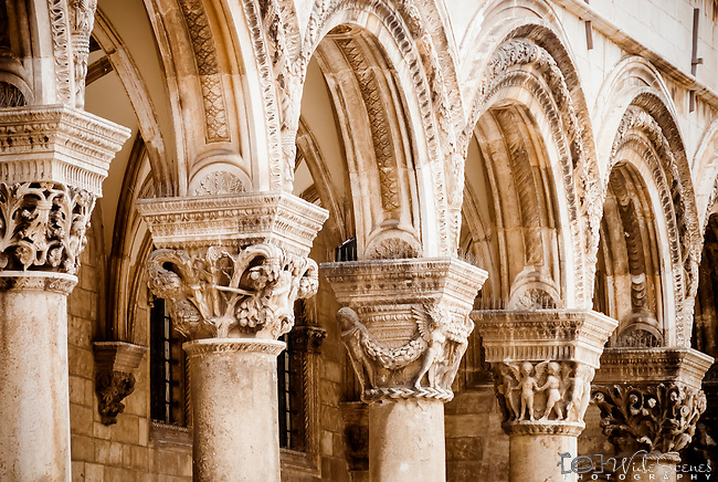 Arches of old building in the old town of Dubrovnik, Croatia