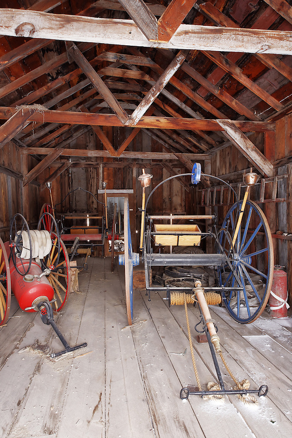 Fire fighting equipment in fire house, Bodie State Historic Park, California, USA