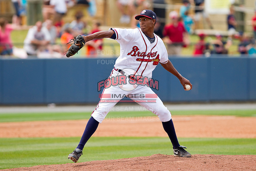 Starting pitcher Ronan Pacheco #32 of the Rome Braves in action against the Hagerstown Suns at State Mutual Stadium on May 1, 2011 in Rome, Georgia.   Photo by Brian Westerholt / Four Seam Images