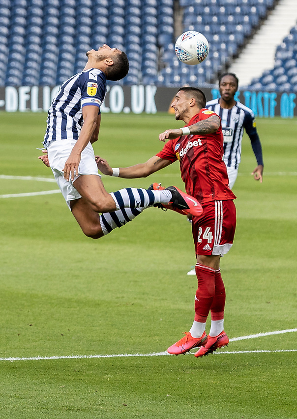 West Bromwich Albion's Jake Livermore (left) competing with Fulham's Anthony Knockaert <br /> <br /> Photographer Andrew Kearns/CameraSport<br /> <br /> The EFL Sky Bet Championship - West Bromwich Albion v Fulham - Tuesday July 14th 2020 - The Hawthorns - West Bromwich <br /> <br /> World Copyright © 2020 CameraSport. All rights reserved. 43 Linden Ave. Countesthorpe. Leicester. England. LE8 5PG - Tel: +44 (0) 116 277 4147 - admin@camerasport.com - www.camerasport.com
