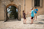 Ice cream at Sant Salvador church within the ancient hilltop fortress, Arta, Mallorca, Spain...Built in 1812.