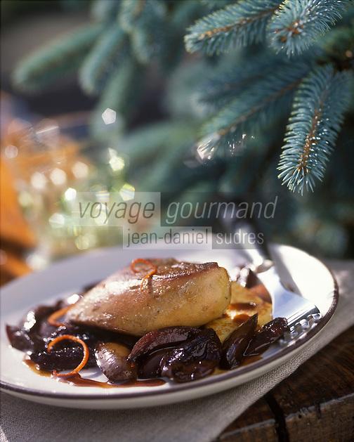 """Europe/France/Alsace/67/Bas-Rhin/Lembach : Escalope de foie d'oie aux quetsches - Recette de Fernand Mischler de l'hôtel-restaurant """"Le Cheval Blanc"""""""