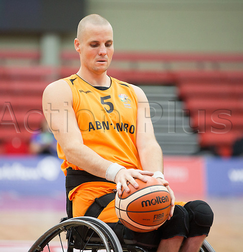 03.07.2016. Leicester Sports Arena, Leicester, England. Continental Clash Wheelchair Basketball Holland versus Australia. Walter Groen (NLD) in possession of the ball