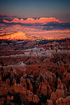 Last rays of sun on Bryce Canyon.