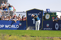 Justin Rose (ENG) on the 1st tee during the 3rd round of the DP World Tour Championship, Jumeirah Golf Estates, Dubai, United Arab Emirates. 23/11/2019<br /> Picture: Golffile | Fran Caffrey<br /> <br /> <br /> All photo usage must carry mandatory copyright credit (© Golffile | Fran Caffrey)