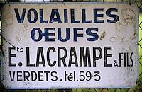 Europe/France/Aquitaine/64/Pyrénées-Atlantiques/Ledueix: Enseigne de monsieur Lacrampe (volailler)
