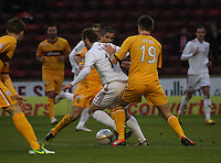 Niall McGinn being pressured by Fraser Kerr in the Motherwell v Aberdeen, Clydesdale Bank Scottish Premier League match at Fir Park, Motherwell on 26.12.12.