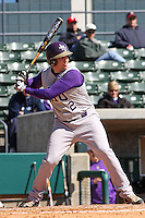 Trevor Knight of James Madison University hitting in a game against UC Irvine at the Baseball at the Beach Tournament held at BB&T Coastal Field in Myrtle Beach, SC on February 28, 2010.