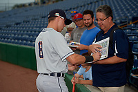 Lakeland Flying Tigers Kody Clemens (8) signs autographs before a Florida State League game against the Clearwater Threshers on May 14, 2019 at Spectrum Field in Clearwater, Florida.  Clearwater defeated Lakeland 6-3.  (Mike Janes/Four Seam Images)