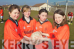 FOOTBALL: Emma Stritch, Ciara Leane, Megan Harkin and Shauna O'Regan taking part in the Mini 7's in Ardfert on Thursday.