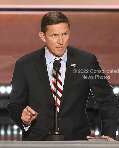 United States Army Lieutenant General Michael T. Flynn, retired, former director, Defense Intelligence Agency makes remarks at the 2016 Republican National Convention held at the Quicken Loans Arena in Cleveland, Ohio on Monday, July 18, 2016.<br /> Credit: Ron Sachs / CNP<br /> (RESTRICTION: NO New York or New Jersey Newspapers or newspapers within a 75 mile radius of New York City)