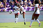ORLANDO, FL - DECEMBER 03: Kiara Pickett #25 of Stanford University takes a shot on goal against UCLA during the Division I Women's Soccer Championship held at Orlando City SC Stadium on December 3, 2017 in Orlando, Florida. Stanford defeated UCLA 3-2 for the national title. (Photo by Jamie Schwaberow/NCAA Photos via Getty Images)