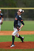 AJ Rourke (3) of Medford, Massachusetts during the Baseball Factory All-America Pre-Season Rookie Tournament, powered by Under Armour, on January 13, 2018 at Lake Myrtle Sports Complex in Auburndale, Florida.  (Michael Johnson/Four Seam Images)