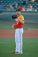 Salt Lake Bees starting pitcher Parker Bridwell (6) during the game against the Oklahoma City Dodgers at Smith's Ballpark on August 1, 2019 in Salt Lake City, Utah. The Bees defeated the Dodgers 14-4. (Stephen Smith/Four Seam Images)