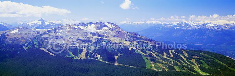 Whistler Mountain Ski Runs, Whistler Ski Resort, BC, British Columbia, Canada, Summer - Black Tusk Peak visible in Left Distance, Panoramic View