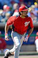 Washington Nationals shortstop Anthony Rendon #6 watches the ball after hitting a home run during a Spring Training game against the Philadelphia Phillies at Bright House Field on March 6, 2013 in Clearwater, Florida.  Philadelphia defeated Washington 6-3.  (Mike Janes/Four Seam Images)
