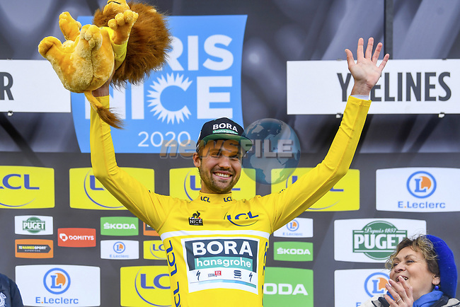 German Champion Maximilian Schachmann (GER) Bora-Hansgrohe wins Stage 1 and wears the first leaders Yellow Jersey of the 78th edition of Paris-Nice 2020, running 154km from Plaisir to Plaisir, France. 8th March 2020.<br /> Picture: Bora-Hansgrohe/Nico Vereecken/PN/BettiniPhoto | Cyclefile<br /> All photos usage must carry mandatory copyright credit (© Cyclefile | Bora-Hansgrohe/Nico Vereecken/PN/BettiniPhoto)