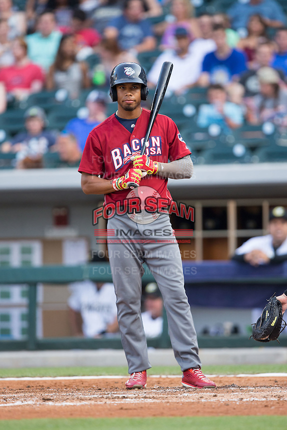 Nick Williams (4) of the Lehigh Valley Iron Pigs prepares to bat against the Charlotte Knights at BB&T BallPark on June 3, 2016 in Charlotte, North Carolina.  The Iron Pigs defeated the Knights 6-4.  (Brian Westerholt/Four Seam Images)
