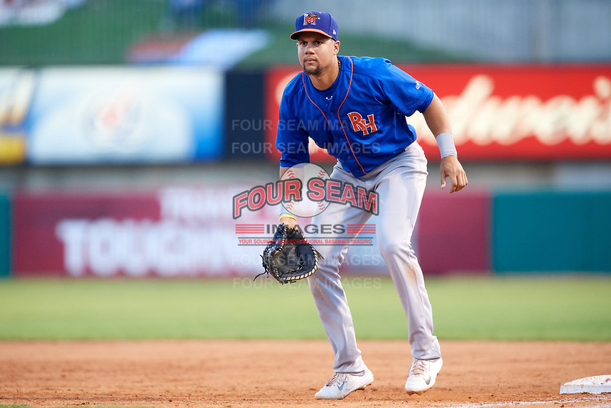 Midland RockHounds first baseman Viosergy Rosa (34) during a game against the Arkansas Travelers on May 25, 2017 at Dickey-Stephens Park in Little Rock, Arkansas.  Midland defeated Arkansas 8-1.  (Mike Janes/Four Seam Images)