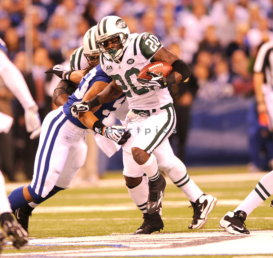 THOMAS JONES, of the New York Jets, in action during the Jets game against the Indianapolis Colts on December 27, 2009 in Indianapolis, Indiana. Jets won 29-15.