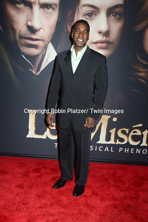 """Norm Lewis attends the American Premiere of """"Les Miserables"""" on December 10, 2012 at the Ziegfeld Theatre in New York City. The movie stars Hugh Jackman, Anne Hathaway, Amanda Seyfried, Eddie Redmayne, Russell Crowe, Samantha Barks, Isabelle Allen and Sacha Baron Cohen."""