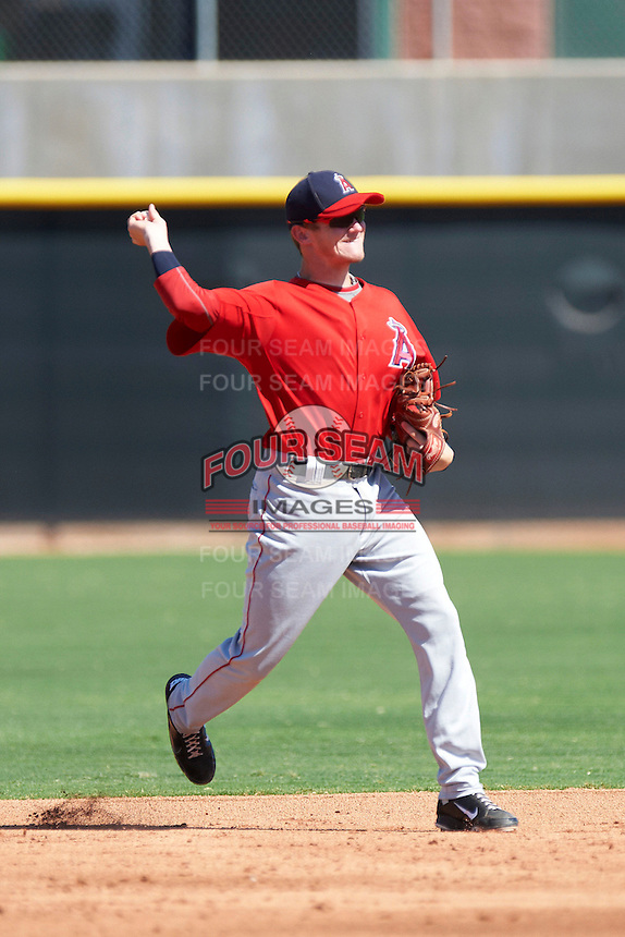 Los Angeles Angels minor league infielder Kody Eaves #16 during an instructional league game against the Arizona Diamondbacks at the Tempe Diablo Minor League Complex on October 1, 2012 in Tempe, Arizona.  (Mike Janes/Four Seam Images)