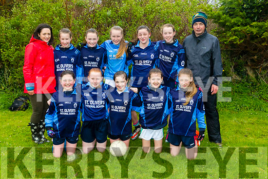 Allianz Cumann na mBunscol  Schools Mini Sevens County finals at Caherslee GAA Ground  on Monday St Oliver's National School. Aoibheann Evans,  Abbie Leslie,  Laura<br /> Cremins, Aine Devlin, Katie McCarthy,  Pia Hickey, Teagan O'Sullivan, Lucy Spellman,  Amy Doyle, Ava McCrohan with coaches