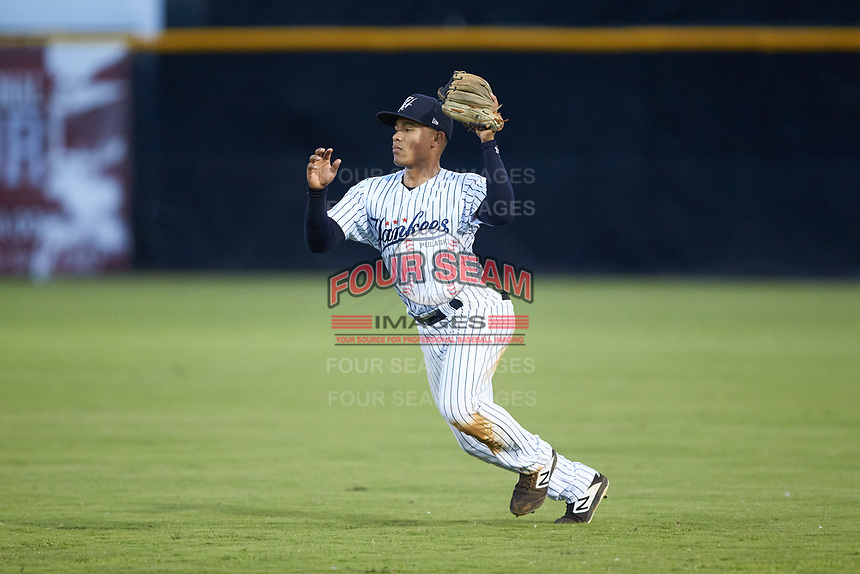 Pulaski Yankees second baseman Luis Santos (13) on defense against the Burlington Royals at Calfee Park on September 1, 2019 in Pulaski, Virginia. The Royals defeated the Yankees 5-4 in 17 innings. (Brian Westerholt/Four Seam Images)