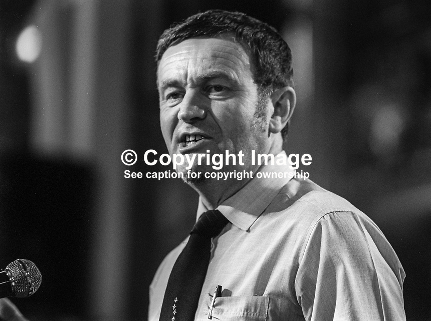 Pat Wall, Labour Party, UK, member, left-wing, Militant Tendency, prospective parliamentary candidate, PPC, Bradford North, speaking 1982 Labour Party Conference, Blackpool. 1982090151D<br /><br />Copyright Image from Victor Patterson, 54 Dorchester Park, <br />Belfast, UK, BT9 6RJ<br /><br />t1: +44 28 9066 1296 (from Rep of Ireland 048 9066 1296)<br />t2: +44 28 9002 2446 (from Rep of Ireland 048 9002 2446)<br />m: +44 7802 353836<br /><br />victorpatterson@me.com<br />www.victorpatterson.com<br /><br />Please see my Terms and Conditions of Use at VICTORPATTERSON.COM. It is IMPORTANT that you familiarise yourself with them.<br /><br />Images used on the Internet must be visibly watermarked i.e. &copy;VICTORPATTERSON.COM within the body of the image and copyright metadata must not be deleted. Images used on the Internet have a size restriction of 4kbs and are chargeable at the then current NUJ rates.<br /><br />This image is only available for the use of the download recipient i.e. television station, newspaper, magazine, book publisher, etc, and must not be passed on to any third party. It is also downloaded on condition that each and every usage is notified within 7 days to victorpatterson@me.com<br /><br />The right of Victor Patterson to be identified as the author is asserted in accordance with The Copyright Designs And Patents Act (1988).