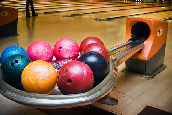 """Bowling balls ready to be used at """"Lanes and Games."""""""