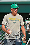 17 July 2013: Vermont Lake Monsters Manager Rick Magnante coaches his players prior to a game against the Aberdeen Ironbirds at Centennial Field in Burlington, Vermont. The Lake Monsters fell to the Ironbirds 5-1 in NY Penn League action. Mandatory Credit: Ed Wolfstein Photo