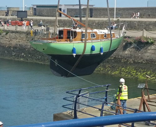 The David Cheverton-designed wooden classic Carrick Witch finally gets gratefully afloat