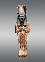 Ancient Egyptian shabtis doll, lwood, New Kingdom, 18th Dynasty, (1538-1040 BC), Deir el Medina. Egyptian Museum, Turin. Grey background.