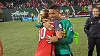 Portland, OR - Saturday August 19, 2017: Adrianna Franch, Allie Long during a regular season National Women's Soccer League (NWSL) match between the Portland Thorns FC and the Houston Dash at Providence Park.